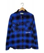 ()の古着「18AW QUOTE FLANNEL SHIRT」 ブルー×ブラック