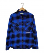 OFFWHITE(オフホワイト)の古着「18AW QUOTE FLANNEL SHIRT」|ブルー×ブラック