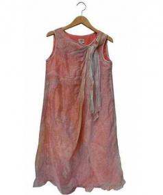 ARMANI COLLEZIONI(アルマーニ コレッツィオーニ)の古着「シルク混ノースリーブワンピース」|ピンク