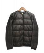 RonHerman(ロンハーマン)の古着「16AW/ノーカラーレザーダウンジャケット」|ブラック
