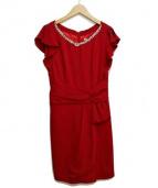 JUSGLITTY(ジャスグリッティ)の古着「ビジュー付リボンデザインワンピース」|レッド
