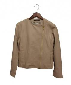 blanc vert(ブランベール)の古着「ラムレザージャケット」|ベージュ