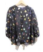 PEGGY LANA(ペギーラナ)の古着「コスモスパフスリーブシャツ」|ブラック