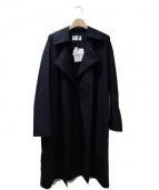 BLACK by moussy(ブラックバイマウジ)の古着「17AW/ボタンレスコート」|ネイビー
