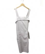 PEGGY LANA(ペギーラナ)の古着「ワイドラップエプロンワンピース」|ライトグレー