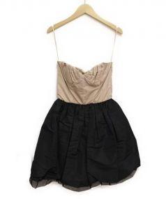 MIU MIU(ミュウミュウ)の古着「ベアトップワンピース」|ベージュ×ブラック