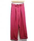 PEGGY LANA(ペギーラナ)の古着「17AW/ロールスリムストレートパンツ」|ピンク