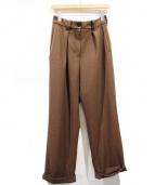 PEGGY LANA(ペギーラナ)の古着「17AW/ロールスリムストレートパンツ」|ブラウン