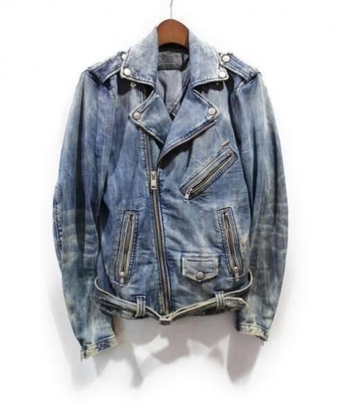 DIESEL(ディーゼル)DIESEL (ディーゼル) デニムライダースジャケット インディゴ サイズ:Sの古着・服飾アイテム