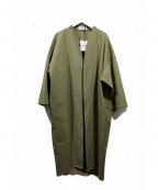 BLACK by moussy(ブラックバイマウジー)の古着「18SS/リネンシャンブレーガウンコート」 カーキ