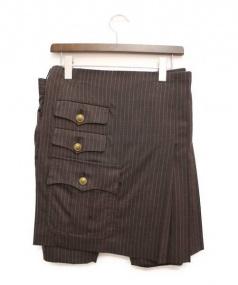 COMME des GARCONS HommePlus(コムデギャルソンオムプリュス)の古着「スカート付ハーフパンツ」|ブラウン
