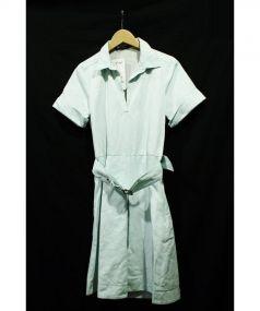 MAURIZIO PECORARO(マウリツィオ ペコラーロ)の古着「リネン混スキッパーシャツワンピース」|スカイブルー