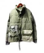 GREG LAUREN(グレッグローレン)の古着「リメイク中綿ジャケット」|カーキ