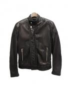 LOUIS VUITTON(ルイ・ヴィトン)の古着「レザーナイロンシングルライダースジャケット」|ブラック