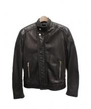 LOUIS VUITTON(ルイ・ヴィトン)の古着「レザーナイロンシングルライダースジャケット」 ブラック