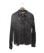 AMIRI(アミリ)の古着「ウエスタンデニムシャツ」|ブラック