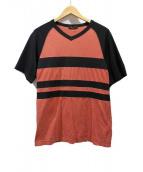 COMME des GARCONS Homme Plus(コムデギャルソンオムプリュス)の古着「ボーダーVネックTシャツ」|レッド