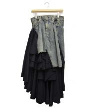 JUNYA WATANABE COMME des GARCONS(ジュンヤワタナベ コムデギャルソン)の古着「レイヤードデニムスカート」|インディゴ