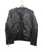TARA JARMON(タラジャーモン)の古着「ノーカラーレザージャケット」|ブラック