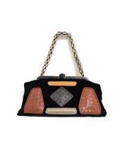 BOTTEGA VENETA(ボッテガベネタ)の古着「スウェードレザーハンドバッグ」|ブラック