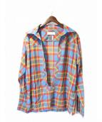 FACETASM(ファセッタズム)の古着「プルオーバーチェックシャツ」|レッドxスカイブルー