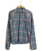 lucien pellat-finet(ルシアン・ペラフィネ)の古着「カシミヤ混チェックシャツ」|ブルー