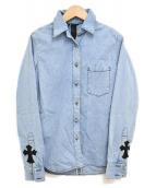 CHROME HEARTS(クロムハーツ)の古着「クロスボールボタン・クロスパッチデニムシャツ」|ブルー