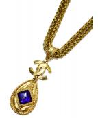 CHANEL(シャネル)の古着「二重チェーングリポアネックレス」 ゴールド×ブルー