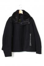 Drawer(ドゥロワー)の古着「ファー付きショートコート」|ブラック