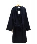 BLACK by moussy(ブラックバイマウジ)の古着「19SS ノーカラートレンチコート」|ネイビー