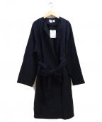 BLACK by moussy(ブラックバイマウジー)の古着「19SS ノーカラートレンチコート」 ネイビー