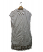 MIHARA YASUHIRO(ミハラヤスヒロ)の古着「ノースリーブシャツワンピース」|ホワイト