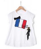 LANVIN en Bleu(ランバン オン ブルー)の古着「リボンブローチ付Tシャツ」 ホワイト