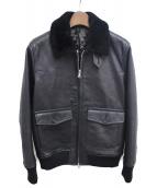 wjk(ダブルジェイケイ)の古着「ボア付レザージャケット/サンプル品」 ブラック