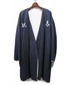 KOZABURO(コウザブロウ)の古着「REVERSIBLE KIMONO/ノーカラージャケット」|ネイビー×ホワイト
