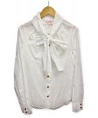Vivienne Westwood RED LABEL(ヴィヴィアンウエストウッド レッドレーベル)の古着「オーブ柄ボウタイシャツ」|ホワイト