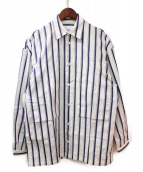 E.TAUTZ(イートーツ)の古着「ストライプシャツ」 ホワイト×ネイビー