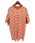 MARTINE ROSE(マーティン ローズ)の古着「ボーダーTシャツ」|オレンジ