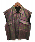 sulvam(サルバム)の古着「20SS AURORA CUT OFF VEST」|グリーン×パープル