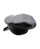 CHARLES JEFFREY LOVERBOY(チャールズ ジェフリー ラバーボーイ)の古着「レザーベレー帽」|ブラック