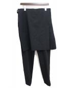 COMME des GARCONS Homme Plus(コムデギャルソンオムプリュス)の古着「スカートドッキングパンツ」|ブラック