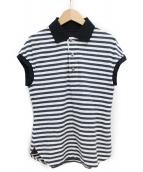 Y's(ワイズ)の古着「ボーダーポロシャツ」|ブラック×ホワイト