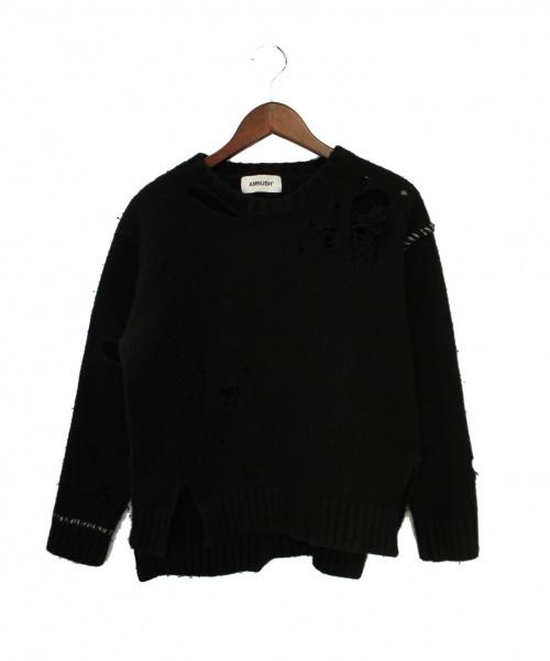 AMBUSH(アンブッシュ)AMBUSH (アンブッシュ) ダメージ加工ニット ブラック サイズ:2の古着・服飾アイテム