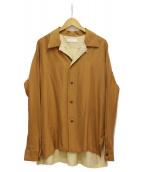 ETHOSENS(エトセンス)の古着「19AW オープンカラーシルクシャツ」|ピンクベージュ