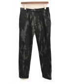 DRIES VAN NOTEN(ドリスバンノッテン)の古着「ブリーチ加工パンツ」|グリーン×ブラック
