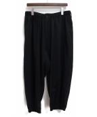 Yohji Yamamoto pour homme(ヨウジヤマモトプールオム)の古着「20SS シワギャバタブ付ギャザーパンツ」|ブラック