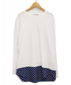 COMME des GARCONS SHIRT(コムデギャルソンシャツ)の古着「ドット切替カットソー」|ホワイト