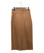 allureville(アルアバイル)の古着「TRツイルフロントスリットタイトスカート」|ブラウン