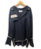 mame kurogouchi(マメ クロゴウチ)の古着「19AW 刺繍シャツ」|ネイビー