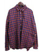 SYU.HOMME/FEMM(シュウオムフェム)の古着「Adjustment Long Sleeve Shirts」|オレンジ×ネイビー